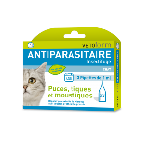 Antiparasitaire insectifuge Naturel CHAT - (4 pipettes de 1 ml)