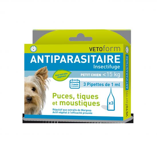 Pipettes insectifuges naturelles pour PETIT CHIEN moins 15 kg