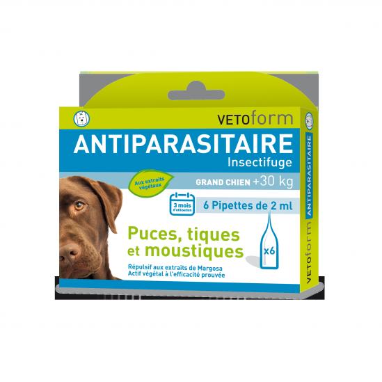 Pipettes antiparasitaire naturelles pour Chien Grands chien plus 30kg (6 x 2ml)