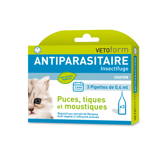 Pipettes antiparasitaire naturelles pour Chaton (3 x 0.4 ml)