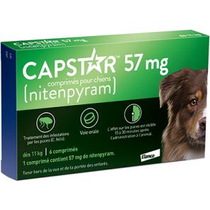 Capstar (57mg) Comprimés Anti-puces chiens Plus 11 Kg