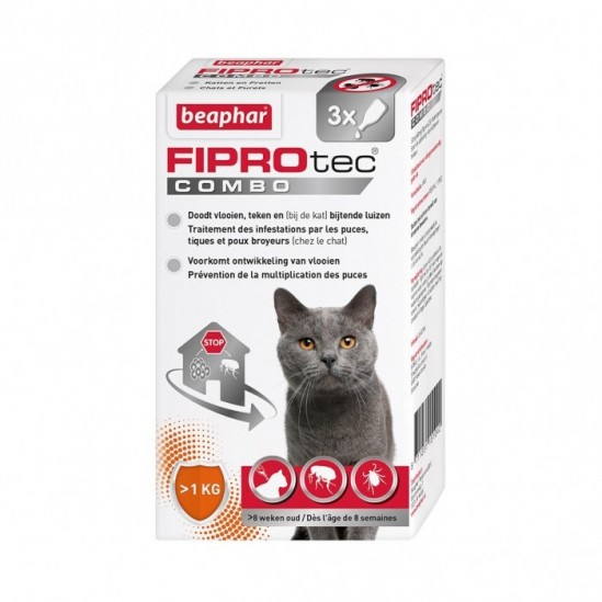 FIPROTEC COMBO 50 mg/60 mg Solution pour spot-on chat et furet 3Pipettes/0,5ml