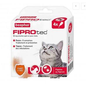 FIPROTEC 50 mg Solution pour spot-on chat plus de1kg 6 pipettes