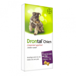 Drontal - vermifuge bayer pour chien goût viande 6 comprimés
