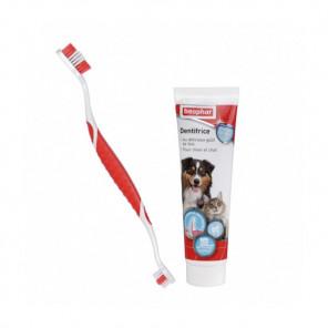 COMBI-PACK, Dentifrice et Brosse à dents pour chien et chat